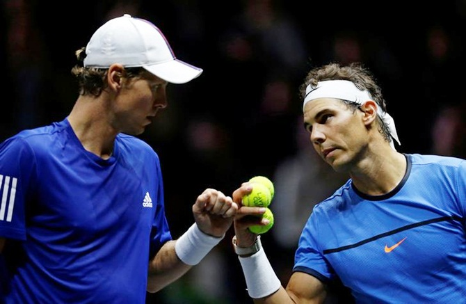 Tomas Berdych and Rafael Nadal of Team Europe