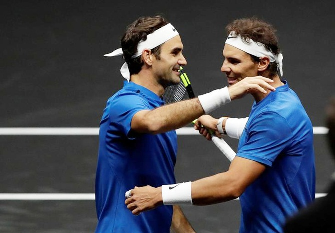Rediff Sports - Cricket, Indian hockey, Tennis, Football, Chess, Golf - Nadal and Federer team up to widen Europe's lead in Laver Cup