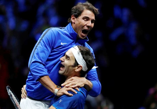 Rediff Sports - Cricket, Indian hockey, Tennis, Football, Chess, Golf - Federer leads Team Europe to victory in first Laver Cup