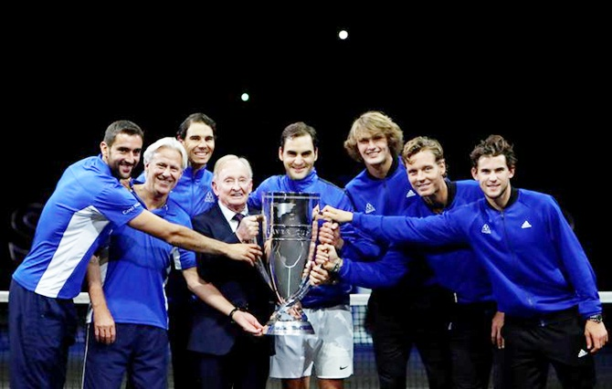 Members of team Europa pose for a picture after winning the Laver Cup