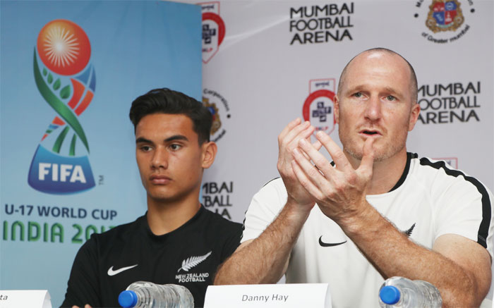 Former Leeds United footballer and coach of the New Zealand Under-17 team Danny Hay and captain Max Mata at the pre-practice match press conference in Mumbai on Wednesday