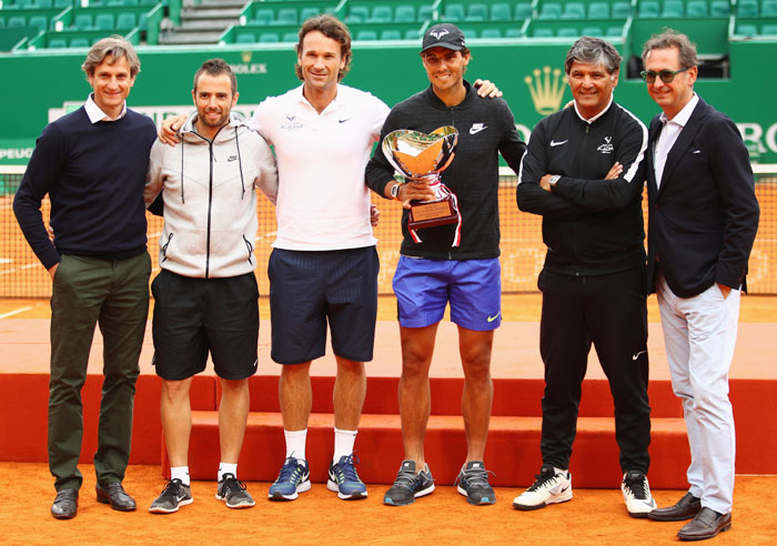 Team Nadal (Left to Right): Agent Carlos Costa, physio Rafael Maymo,coach Carlos Moya,Rafael Nadal, coach Toni Nadal and PR Benito Perez Barbadillo
