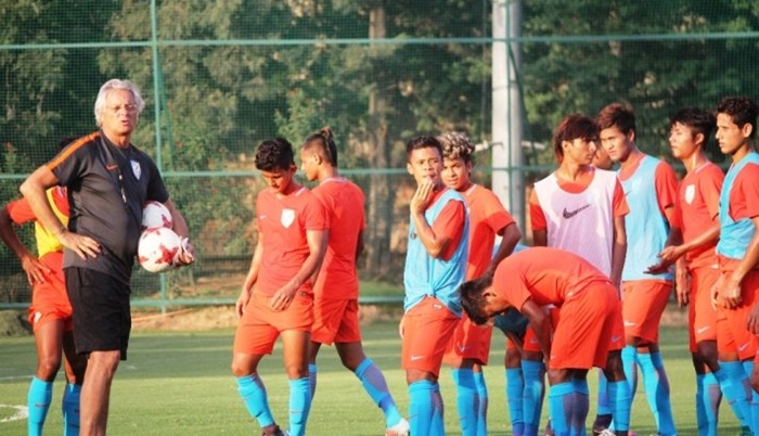 India under-17 coach Luis Norton de Matos with his players at a training session