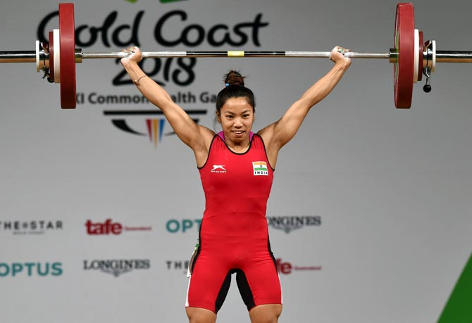 Mirabai Chanu in action in the women's weightlifting 48kg category on day one of the Gold Coast 2018 Commonwealth Games at Carrara Sports and Leisure Centre on Thursday