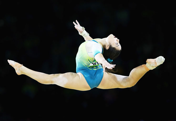Australia's Georgia Godwin competes in the floor exercise in the women's individual all-around gymnastics final at Coomera Indoor Sports Centre