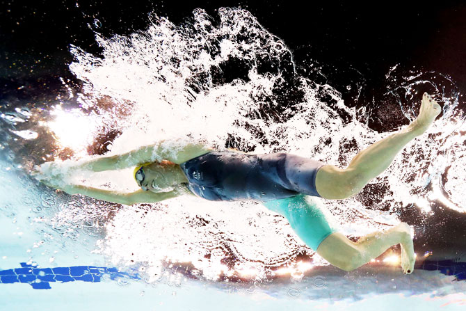 Australia's Madeleine Scott competes during the women's SB9 100m breaststroke final at Optus Aquatic Centre on Monday