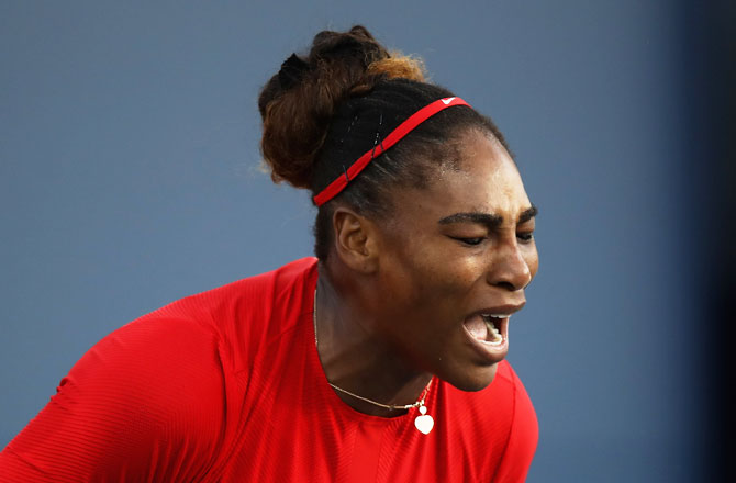 Serena Williams of the United States reacts during her match against Johanna Konta of Great Britain on Day 2 of the Mubadala Silicon Valley Classic at Spartan Tennis Complex in San Jose, California, on Tuesday