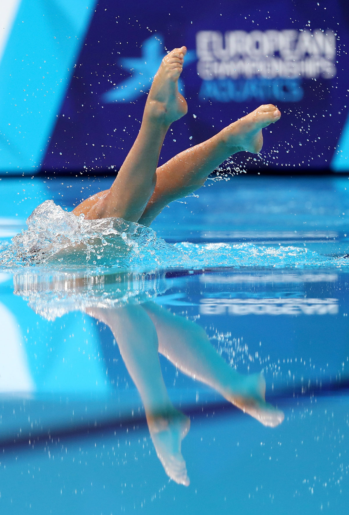 Greece'S Evangelia Platanioti competes in the Solo Free Routine, Preliminary round during the Synchronised Swimming on Day Four of the European Championships at Scotstoun Sports Campus in Glasgow on August 5