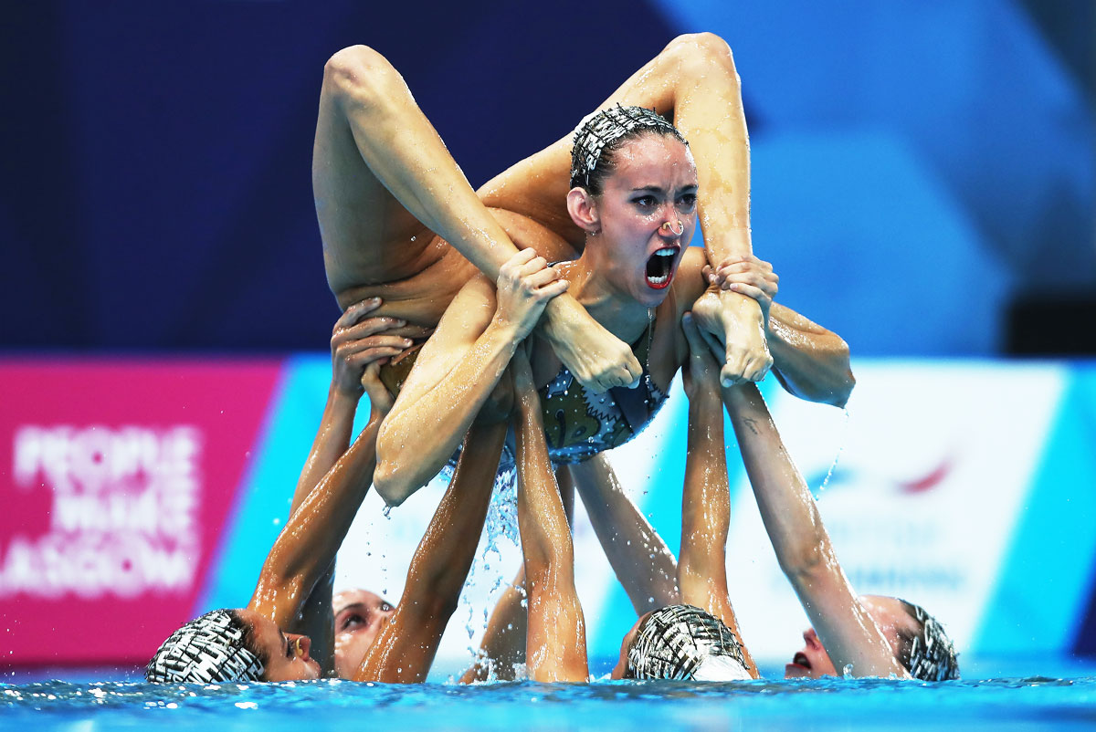 Team Spain compete in the Sychronised Swimming Team Free Routine final of the European Championships at Scotstoun Sports Campus in Glasgow on August 4