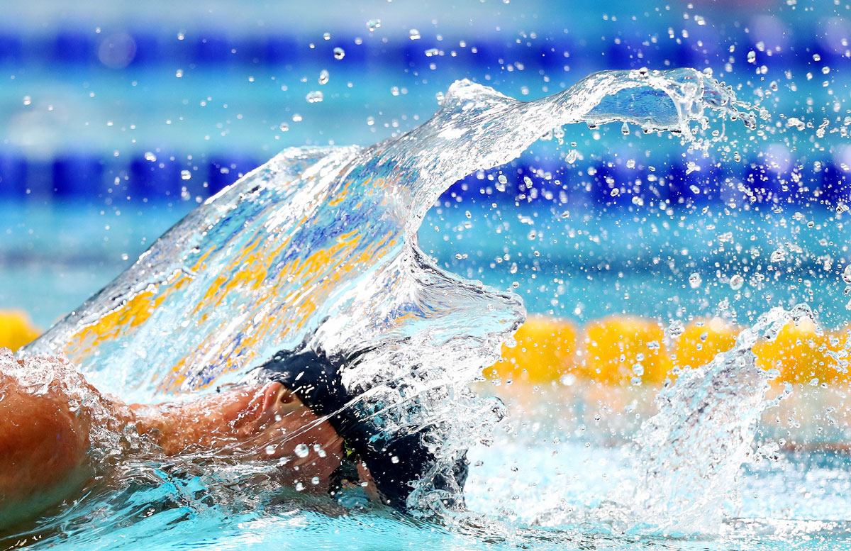 Ukraine's \Mykhaylo Romanchuk competes in the Men's 1500m Freestyle swimming final at Tollcross International Swimming Centre in Glasgow on August 5