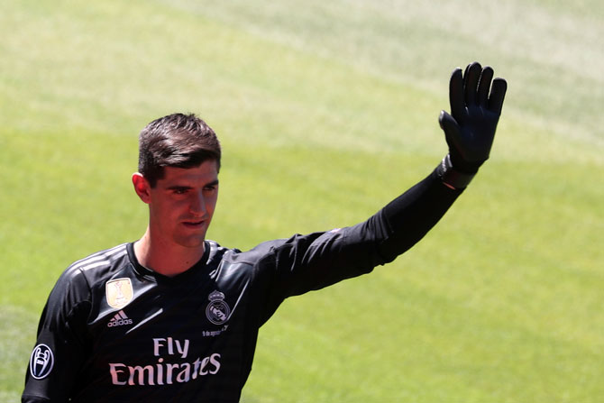 Real Madrid's Thibaut Courtois on the pitch during the presentation at Santiago Bernabeu stadium in Madrid on Thursday