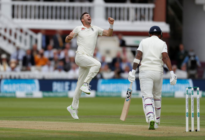 England's James Anderson celebrates after taking the wicket of India's KL Rahul on Day 2 of the 2nd Test at Lord's in London on Friday