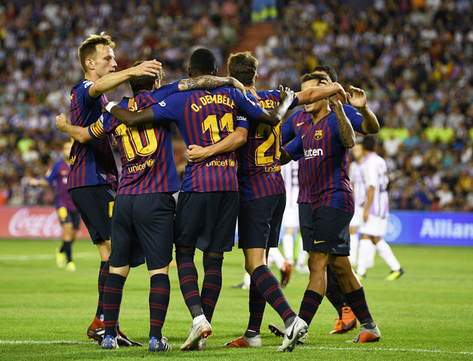 Rediff Sports - Cricket, Indian hockey, Tennis, Football, Chess, Golf - La Liga: Barcelona scrape past Valladolid on 'deplorable' pitch
