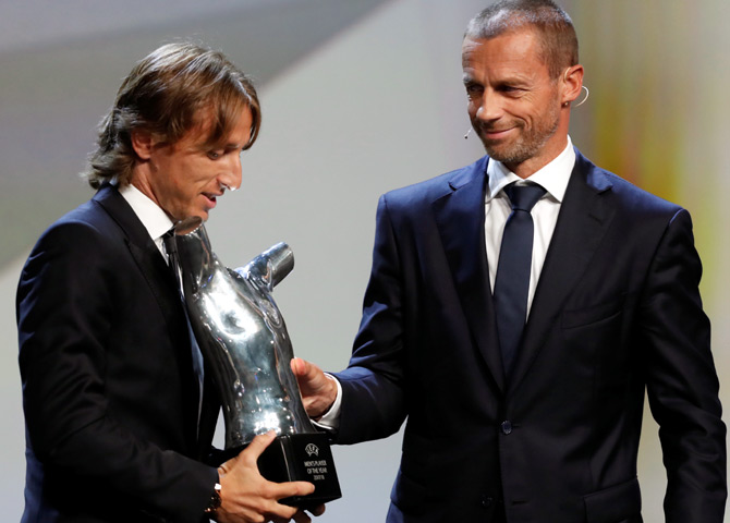 Rediff Sports - Cricket, Indian hockey, Tennis, Football, Chess, Golf - Modric voted UEFA's Player of the Year ahead of Ronaldo, Salah