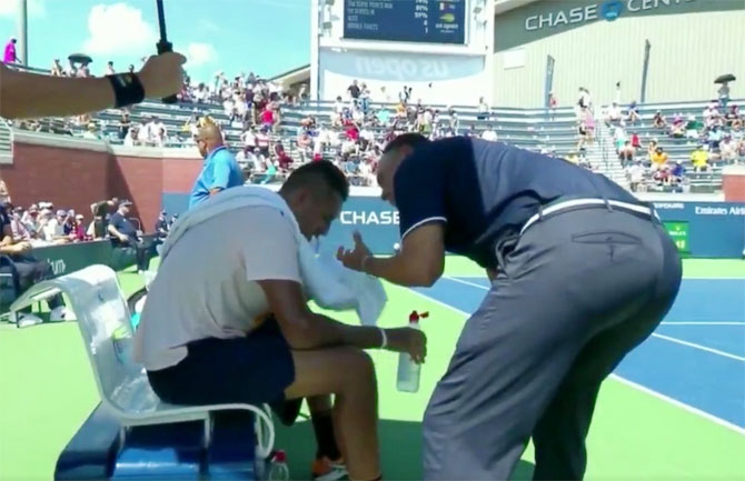 Rediff Sports - Cricket, Indian hockey, Tennis, Football, Chess, Golf - USTA plays down controversy after Kyrgios gets 'pep talk' from umpire