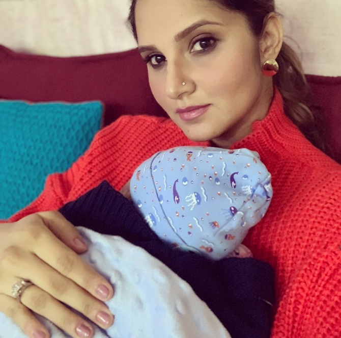 Sania Mirza cuddles with baby Izhaan - Rediff Sports