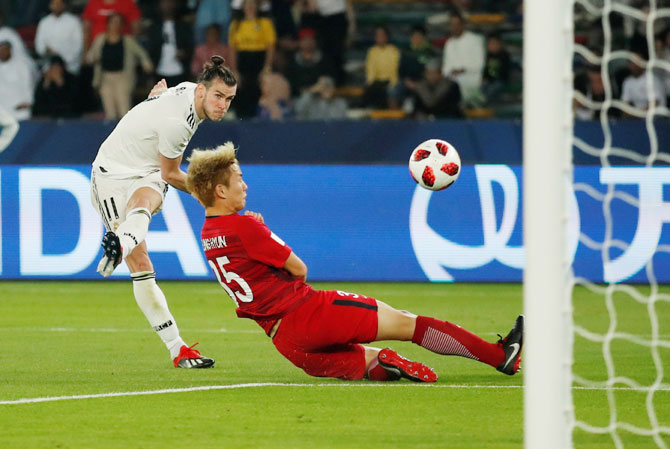 Rediff Sports - Cricket, Indian hockey, Tennis, Football, Chess, Golf - Club World Cup: Bale hat-trick leads Real Madrid into final