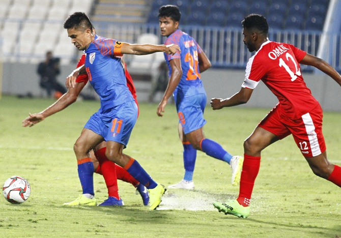 Rediff Sports - Cricket, Indian hockey, Tennis, Football, Chess, Golf - India hold Oman to goalless draw in closed door game