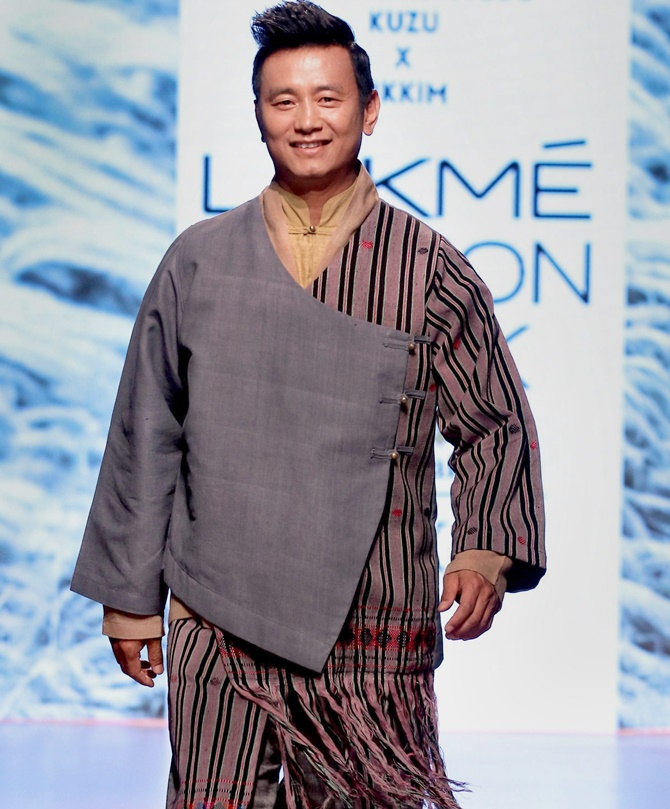 Bhaichung Bhutia walks the ramp at the Lakme Fashion Week on Thursday