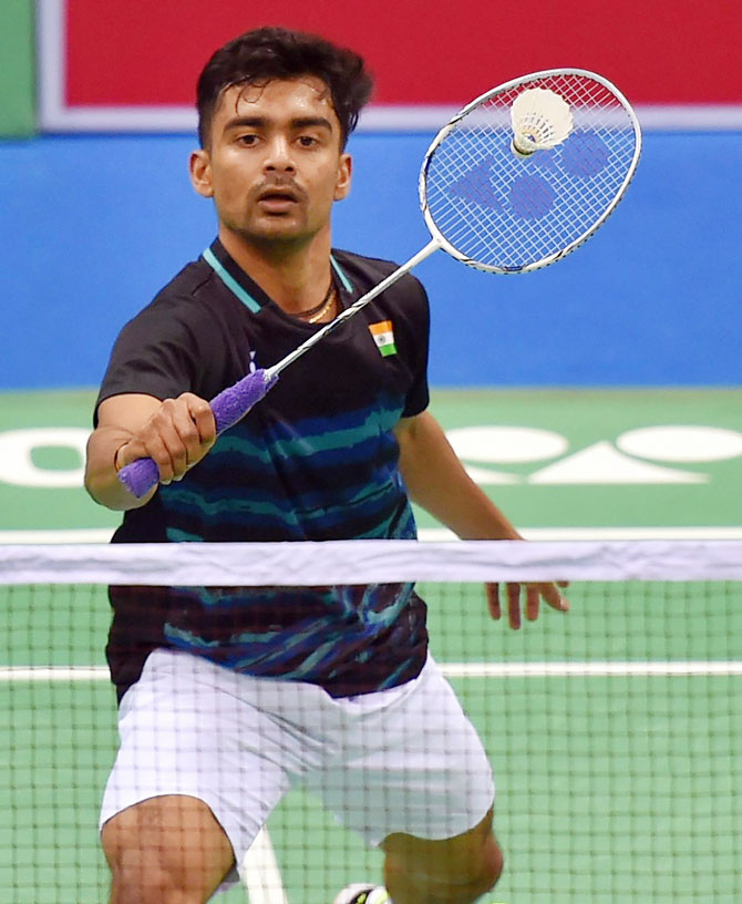 India's Sameer Verma plays a shot against Malaysia's A Zulkarnain during their mens singles quarter-final