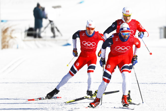 Norway's team trains at the Alpensia Cross-Country Skiing Centre in Pyeongchang on Thursday
