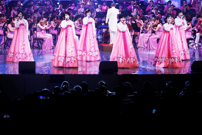 The North Korea's Samjiyon Orchestra performs in Gangneung, South Korea, on Thursday