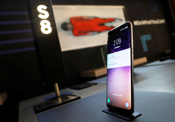 A Samsung Electronics' Galaxy S8 smartphone is seen on display at its booth in Pyeongchang, South Korea