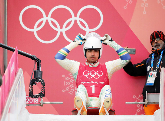 India's Shiva Keshavan prepares to start during a Luge men's singles training session at the Olympic Sliding Centre in Pyeongchang on Friday