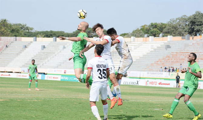 Action from the I-League match played between Chennai City FC and Shillong Lajong on Sunday