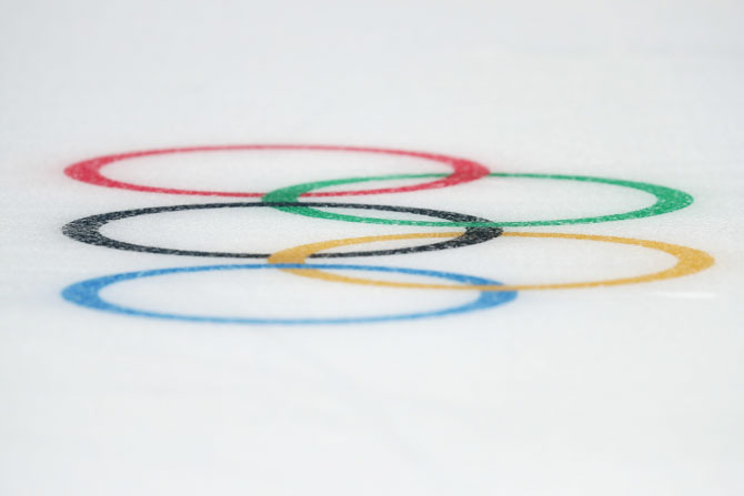 The Olympic rings seen at the Winter Games in Pyeongchang on Sunday