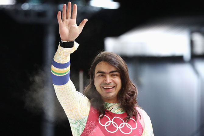India's Shiva Keshavan reacts following run 3 during the Luge Men's Singles on Day 2 of the PyeongChang 2018 Winter Olympic Games at Olympic Sliding Centre in Pyeongchang, South Korea on Sunday