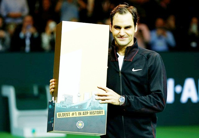 Rediff Sports - Cricket, Indian hockey, Tennis, Football, Chess, Golf - Back on top, Federer becomes oldest ATP world number one