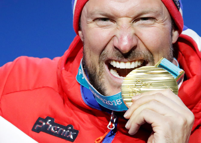 Norway's Aksel Lund Svindal wins the gold medal after winning gold in the Alpine Skiing Men's Downhill event on Feb 15