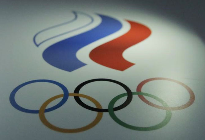 The logo of Russian Olympic Committee (ROC) is seen at the committee's headquarters in Moscow, Russia