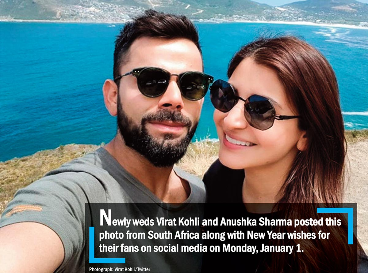 Newly weds Virat Kohli and Anushka Sharma posted this photo from South Africa along with New Year wishes for their fans on social media on Monday, January 1