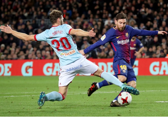 Rediff Sports - Cricket, Indian hockey, Tennis, Football, Chess, Golf - King's Cup: Messi double helps Barca reach quarters