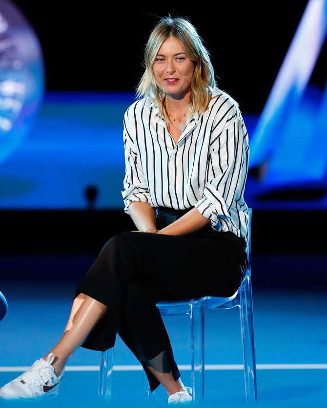 Russia's Maria Sharapova speaks during the 2018 Australian Open official draw at Melbourne Park. In the absence of defending champion Serena Williams, Sharapova was invited for the draw ceremony by the organisers, a move that has left many unimpressed
