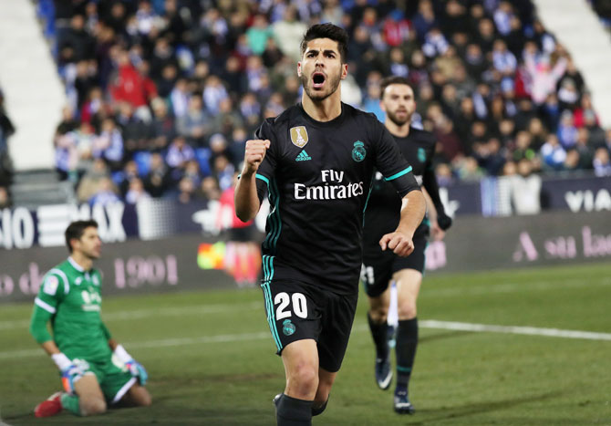 Rediff Sports - Cricket, Indian hockey, Tennis, Football, Chess, Golf - King's Cup: Asensio lifts stuttering Real Madrid at Leganes