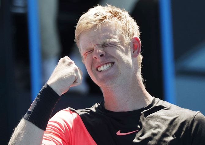 Britain's Kyle Edmund celebrates his win against Georgia's Nikoloz Basilashvili