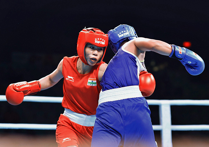 Despite her aggressive approach Mary Kom surprisingly finished with a silver medal