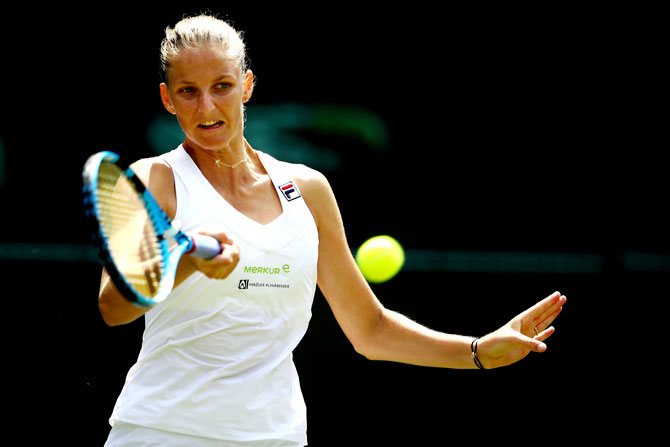 Czech Republic's Karolina Pliskova returns against Belarus' Victoria Azarenka during their second round match