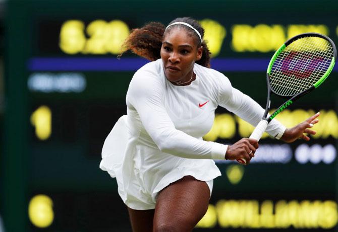 Serena Williams in action during her second round match against Viktoriya Tomova