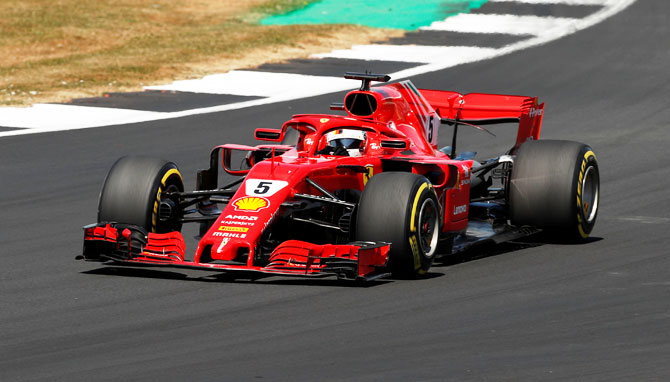 Ferrari's Sebastian Vettel in action during the British GP at the Silverstone Circuit, Silverstone on Sunday