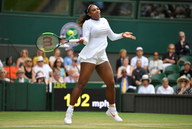 Serena Williams of the US in action during her fourth round match against Russia's Evgeniya Rodina