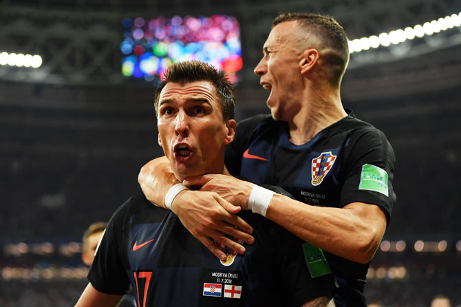 Croatia's Mario Mandzukic celebrates after scoring his team's second goal, the winner, in extra-time