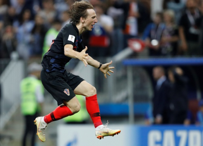 Croatia's Luka Modric celebrates after defeating England to reach the World Cup final