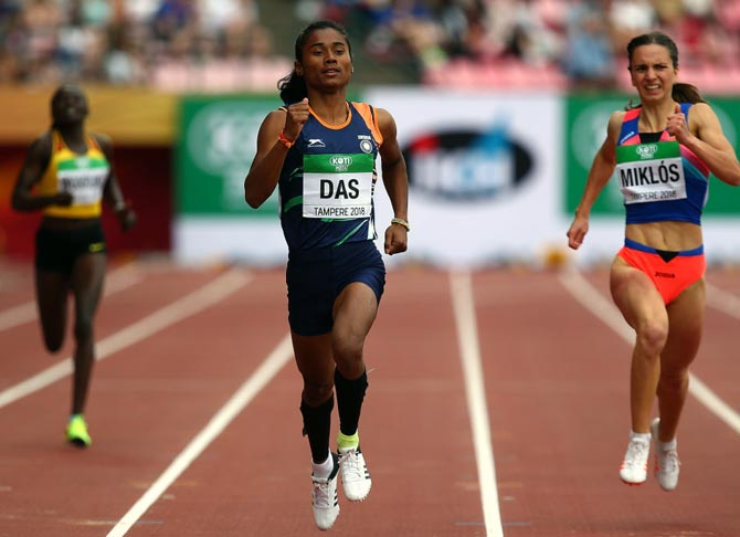 India's Hima Das finishes well ahead of the field in Heat 1 of the women's 400m semi-finals on Day 2 of the IAAF World Under-20 Championships in Tampere, Finland on Thursday