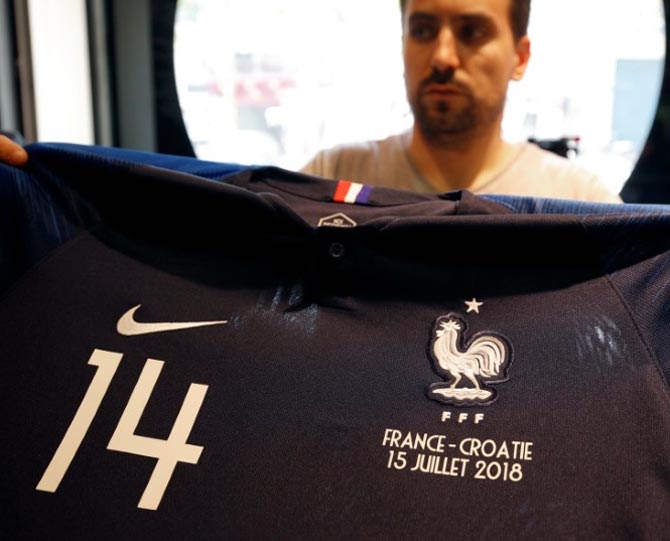 the best attitude 2b499 8847a France jerseys a big hit before World Cup final - Rediff Sports