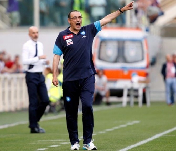 Rediff Sports - Cricket, Indian hockey, Tennis, Football, Chess, Golf - Former Napoli manager Sarri replaces Conte at Chelsea