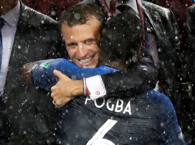 Rediff Sports - Cricket, Indian hockey, Tennis, Football, Chess, Golf - French president can bless his lucky stars, again, as 'Les Bleus' win World Cup